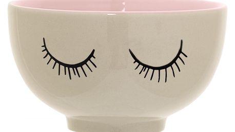 Bloomingville Dětská keramická mistička Audrey Rose, růžová barva, krémová barva, keramika