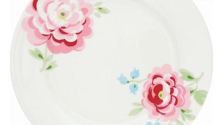 GREEN GATE Dezertní talíř Meryl white, růžová barva, bílá barva, porcelán