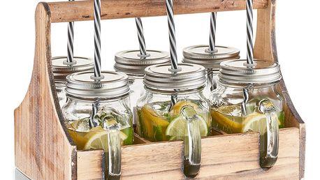 Skříňka na sklenice na nápoje 6 x skelnice se slámkou, dřevěná, ZELLER