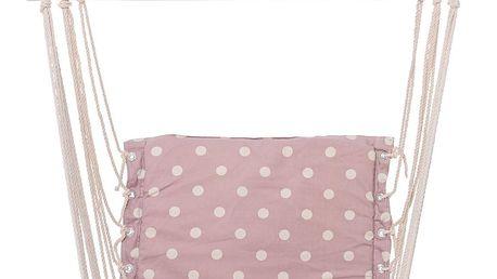 Bloomingville Závěsné houpací křeslo Mauve/Kit dots, růžová barva, dřevo, textil
