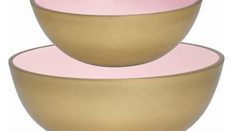 GREEN GATE Miska Pale pink/gold - set 2 ks, růžová barva, zlatá barva, kov