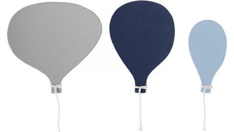 Bloomingville Dřevěné věšáčky Balloon Blue - set 3ks, modrá barva, šedá barva, dřevo, kov