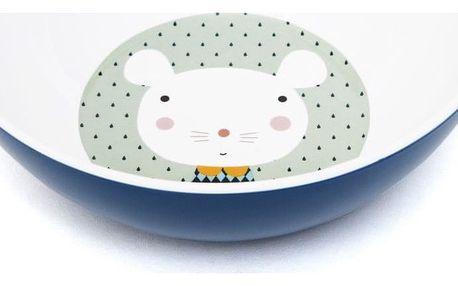 PETIT MONKEY Melaminová miska Mouse, modrá barva, melamin