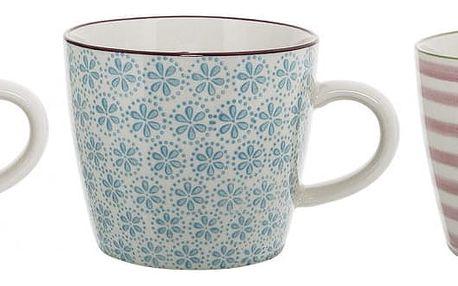 Bloomingville Keramický hrnek Patrizia Modrý vzor, růžová barva, modrá barva, zelená barva, keramika