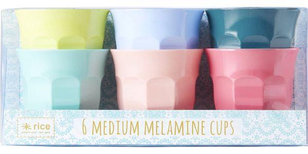 rice Barevné melaminové hrnečky - set 6 kusů, multi barva, melamin
