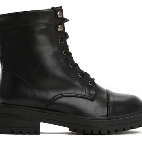 Dámské černé lesklé kotníkové boty Dichen 8309a