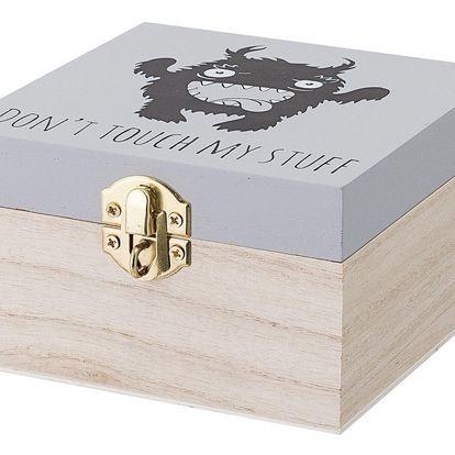 Bloomingville Dřevěná krabička se zámkem Monster Grey, šedá barva, černá barva, hnědá barva, dřevo