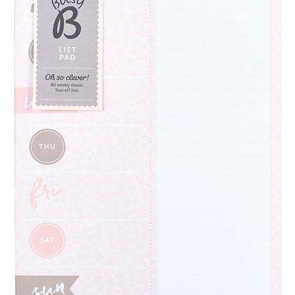 Busy B Trhací týdenní kalendář Pink/metallic - 80 listů, růžová barva, papír