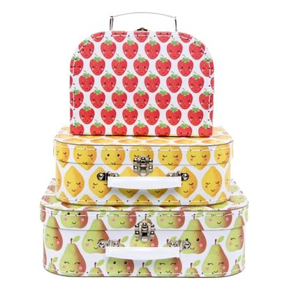 sass & belle Kufřík Happy fruit and veg - 3 velikosti Kufřík Citron, multi barva, papír