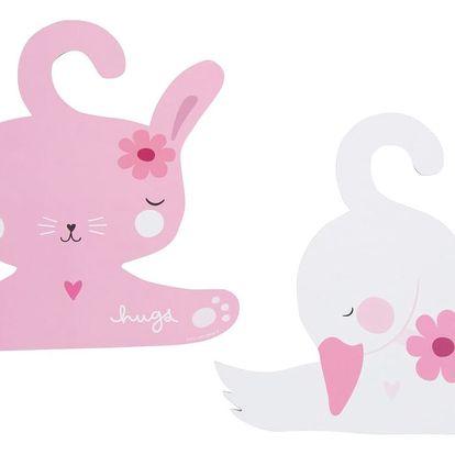 A Little Lovely Company Dětské ramínko na šaty Bunny & swan - 2 ks, růžová barva, bílá barva, papír