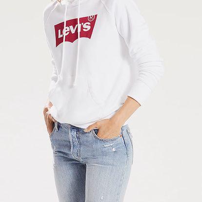 Mikina LEVI'S Graphic Sport Hoodie Housemark Hoodie W Bílá
