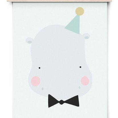 EEF lillemor Plakát do dětského pokojíčku Happy Hippo A3, šedá barva, papír