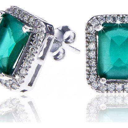 Náušnice - stříbrné se zeleným krystalkem