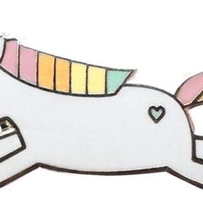EEF lillemor Odznáček Hopping Unicorn, růžová barva, modrá barva, bílá barva, smalt