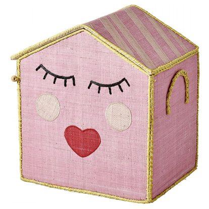 rice Dětský úložný box Sweet Face, růžová barva, papír
