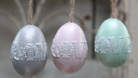 Chic Antique Dekorativní vajíčko Love k zavěšení Růžové, růžová barva, zelená barva, šedá barva, plast
