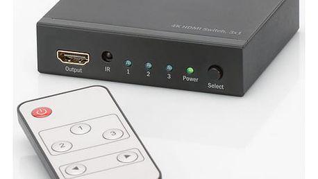 HDMI přepínač Digitus 3x1, podpora 4K + dálkové ovládání černý (DS-48304)