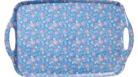 rice Melaminový podnos Blue Florals, modrá barva, melamin