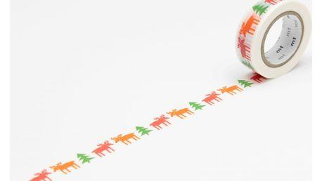 mt Designová samolepící páska Happy moose, červená barva, růžová barva, zelená barva, papír