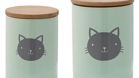 Bloomingville Keramická dóza na granule Cat Dusty mint Větší, zelená barva, keramika