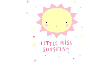 A Little Lovely Company Nástěnná samolepka Miss Sunshine, růžová barva, žlutá barva, plast