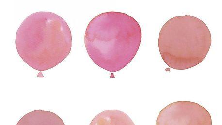 Bloomingville Plakát Rose 40x30cm, růžová barva, papír