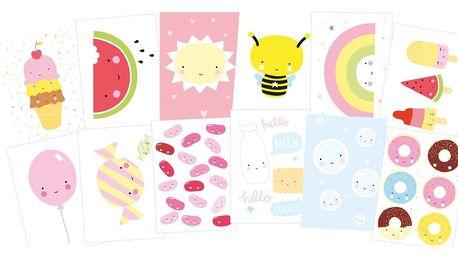 A Little Lovely Company Pohlednice Cute Kawaii - set 12 ks, růžová barva, multi barva, papír