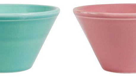 CÔTÉ TABLE Keramická miska Coupelle Modrozelená, růžová barva, modrá barva, zelená barva, keramika
