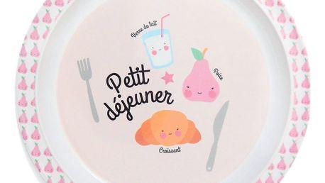 EEF lillemor Dětský melaminový talířek Petit déjeuner Pink, růžová barva, melamin