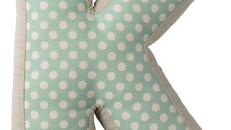 Bloomingville Dětský polštářek Checked ve tvaru písmene K, zelená barva, béžová barva, textil