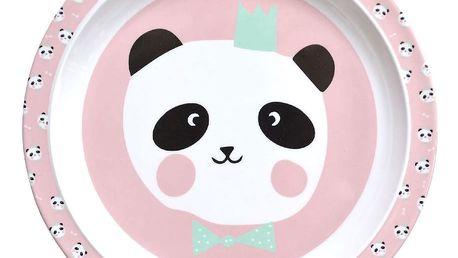 EEF lillemor Dětský melaminový talířek King Pink Panda, růžová barva, melamin