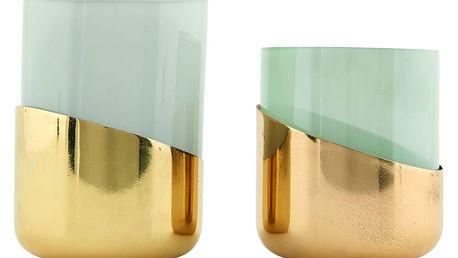 House Doctor Svícen Bright brass plating Větší - šedé sklo, zlatá barva, sklo, kov