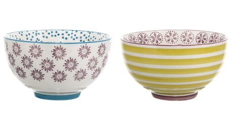 Bloomingville Keramická miska Patrizia Žlutá/fialová, fialová barva, modrá barva, žlutá barva, keramika