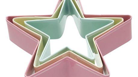 Kitchen Craft Barevná vykrajovátka Star - 3 ks, růžová barva, zelená barva, žlutá barva, multi barva, kov