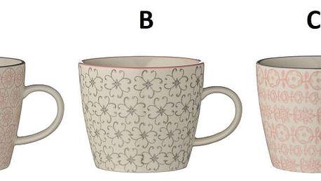 Bloomingville Keramický hrneček s ouškem Cécile Motiv C, růžová barva, šedá barva, keramika