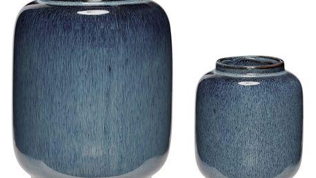 Hübsch Keramická váza Blue Ceramic Větší, modrá barva, keramika
