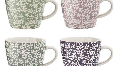 Bloomingville Keramický hrnek Seeke Fialový, růžová barva, fialová barva, zelená barva, šedá barva, keramika