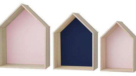 Bloomingville Nástěnná polička Rose & Navy House Velikost M, růžová barva, modrá barva, hnědá barva, dřevo