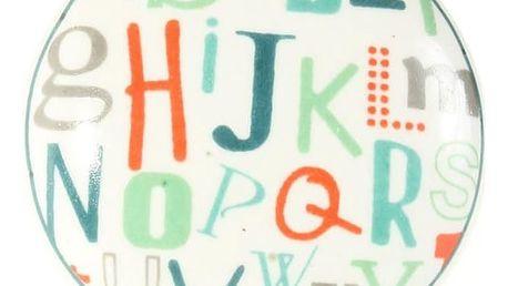 La finesse Porcelánová úchytka Letters, bílá barva, multi barva, porcelán 40 mm