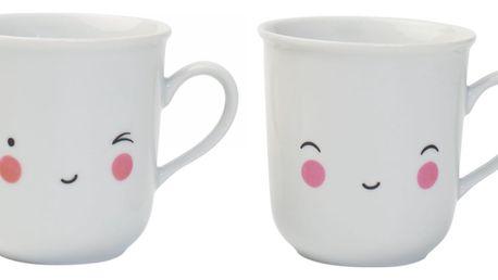 A Little Lovely Company Set dvou hrnečků Thirst Tea Happy, bílá barva, porcelán