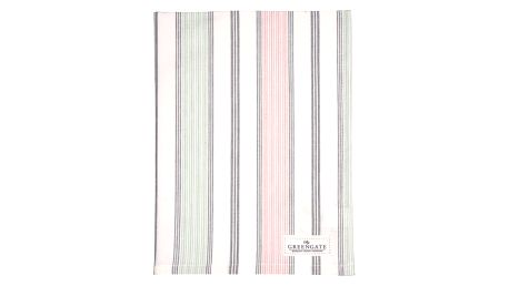 GREEN GATE Bavlněná utěrka Mabel white, růžová barva, modrá barva, bílá barva, textil