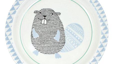 Bloomingville Dětský melaminový talíř Beaver, modrá barva, bílá barva, melamin