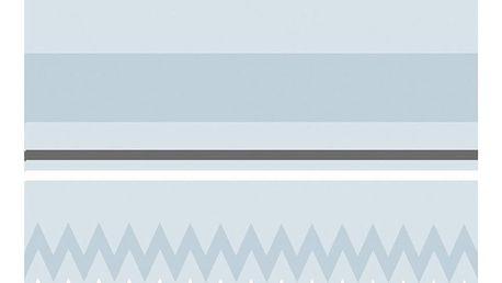 Bloomingville Koupelnový závěs Skyblue, modrá barva, béžová barva, šedá barva, textil