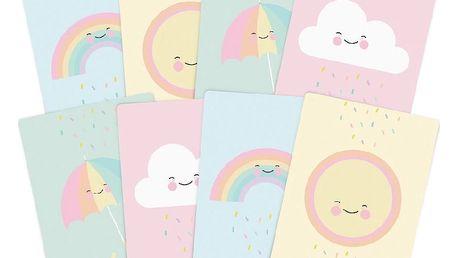 EEF lillemor Párty pozvánky Sprinkle A7 - set 8 ks, růžová barva, modrá barva, zelená barva, žlutá barva, multi barva, papír