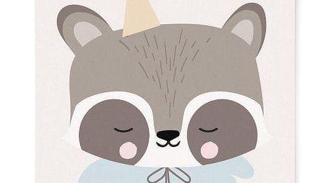 EEF lillemor Plakát do dětského pokojíčku Circus Raccoon A3, modrá barva, šedá barva, bílá barva, papír