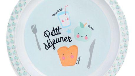 EEF lillemor Dětský melaminový talířek Petit déjeuner Blue, modrá barva, melamin