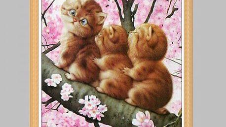 DIY obraz z kamínků s kočičkami