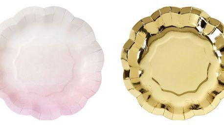 Talking Tables Papírové talířky Pink Flower - set 12 ks, růžová barva, zlatá barva, papír