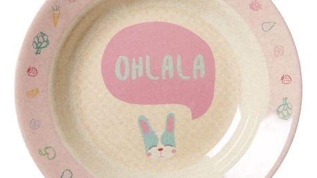 rice Hluboký melaminový talíř se zajíčkem, růžová barva, melamin