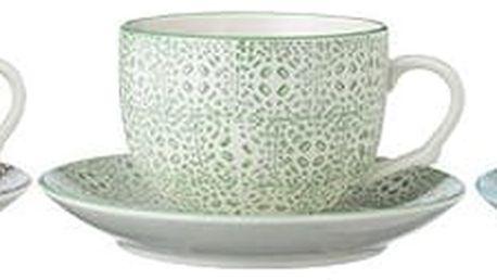 Bloomingville Šálek s podšálkem Isabella Zelená, modrá barva, zelená barva, šedá barva, keramika